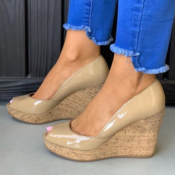 621c889db28 Patent Leather Wide Fit Peep Toe Platform Wedge